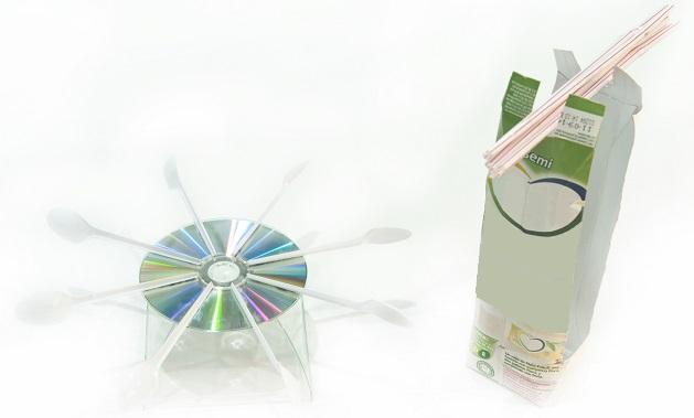 Los dos montajes del experimento de la turbina hidraulica