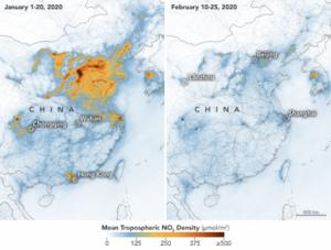 Reducción del NO2 en el aire de China en febrero de 2020. Fuente: La Vanguardia