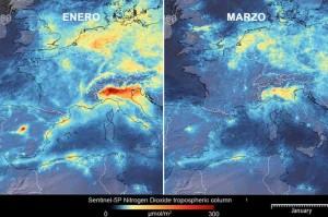 Reducción del NO2 del aire en Europa. Marzo 2020. Fuente: La Vanguardia.